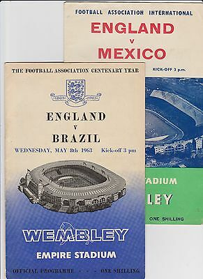 2 - ENGLAND FRIENDLY INTERNATIONAL PROGRAMMES FROM THE 60's - 1961 &1963