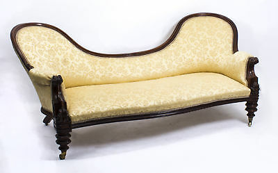 Antique Victorian Walnut Double Chair Back Settee Chaise c.1860