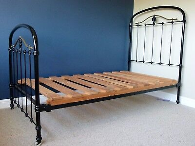 A Fabulous Antique French Iron and Brass Single Bed