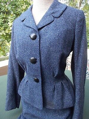 """Classic blue tweedy suit...love the gathered waist  """" Briarbrook """" c. 1945-50"""