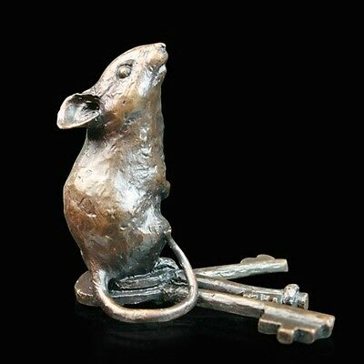 Mouse With Keys Solid Bronze Foundry Cast Sculpture Michael Simpson [736]