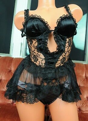 VTG Duet Sexy Black Satin Frilly Sissy Lace Fancy Nightie Camisole Top sz S