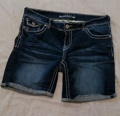 MAURICES Mid Rise Dark Wash Cut-off Jeans Shorts Denim Women's Size 14