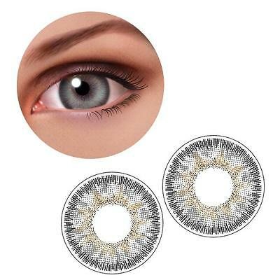 1 Pair Contact Lenses Color Soft Big Eye UV Protection Cosmetic Lenses Gray  DX