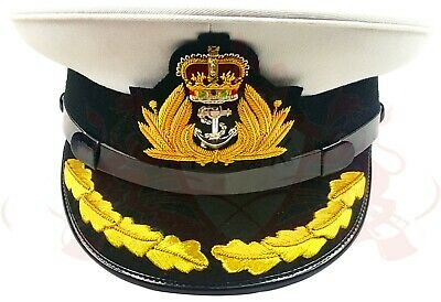 Royal Navy Officer Hat, Naval Captain Peak Cap, R N Commanders Cap Bullion Badge