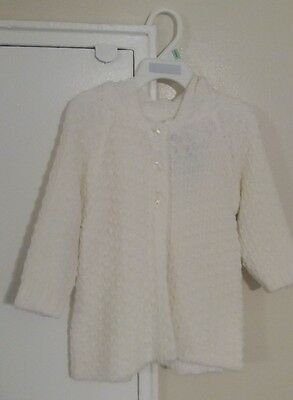 First Impressions Bright White Hooded Sweater Size: 18 Months