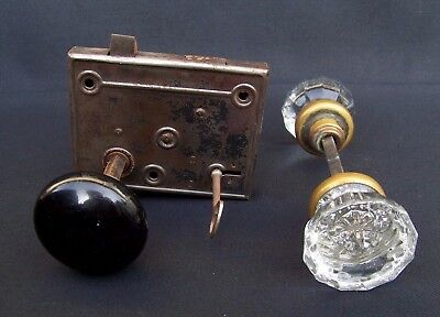 Antique  Door Lock With Key Black Knob + Extra 12 Point Crystal/Glass Knob Set