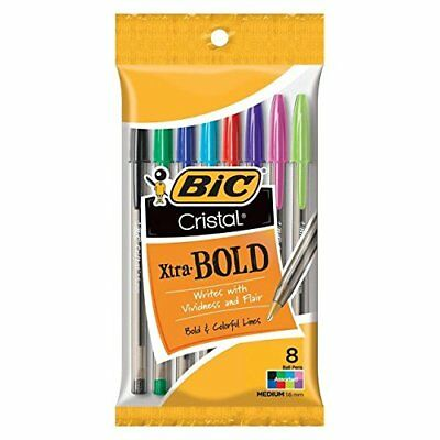 NEW Bic Crystal Extra Bold Pens Assorted Colors 8 Count (3 Pack)