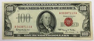 1966 $100 United States Note Nice Circulated Note Red Seal Low Serial No. PM-91