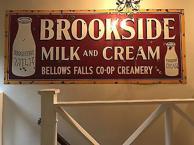 Antique 8ft Brookside Milk And Cream Sign Off Railroad Ice Car