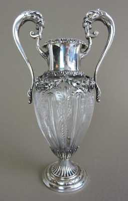 Elegant Sterling Silver & Etched Crystal 2 Handled Vase - Late 19th Century