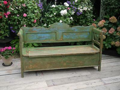Fantastic! Antique Pine (Old/original Painted) Hungarian Box Bench/settle/pew