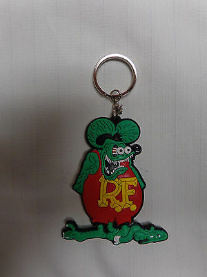 Rat Fink Double Sided Rubber Silicone Keychain Hot Rat Rod Classic Green @ Red