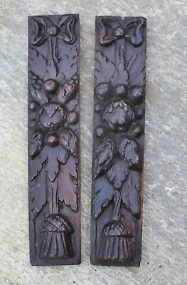 PAIR of 17th Century CARVED OAK GARLANDS Gothic Medieval carving