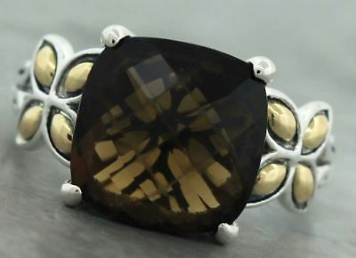 Ladies John Hardy Batu Kawung Sterling Silver 18K Gold Smoky Quartz Floral Ring