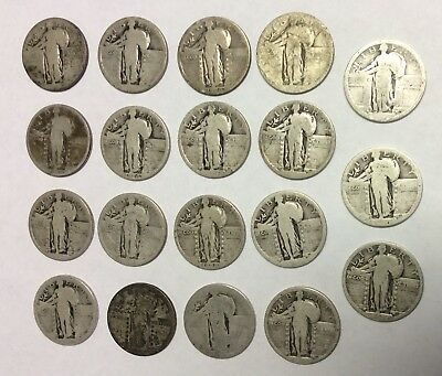 Lot of (19) Standing Liberty Quarters