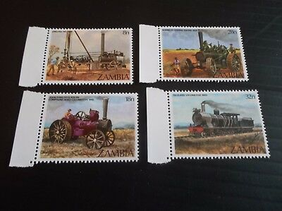 Zambia 1983 Sg 375-378 Early Steam Engines Mnh