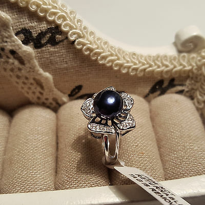 Beautiful Freshwater  Pearl & Cr Diamond Ring in Platinum over Sterling Silver