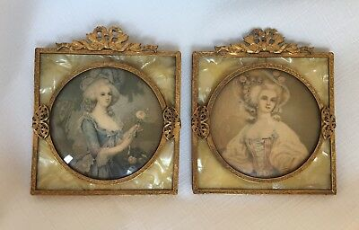 2 French Style Brass Frames/Pyralin Celluloid Faux Mother of Pearl/1920's