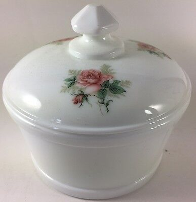 Butter Tub - Covered Butterdish w/ Roses - White Milk Glass - Mosser Rosso USA