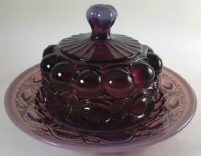 Butterdish - Eyewinker - Plum Opalescent Glass - Mosser USA