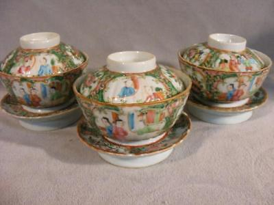 Set 3 Antique Chinese Export Rose Medallion Covered Rice Bowls & Ring Bases