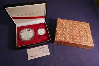1987 Chinese Panda Two Pc Silver Proof Coin Set 10 & 50 Yuan W/ Box & Cert
