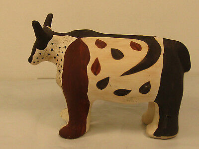 Beautiful Vintage Southwestern? Clay Pottery Painted Cow Bull Cattle Sculpture