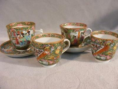Group Of 4 Fine Antique Chinese Export Rose Medallion Demitasse Cups & Saucers
