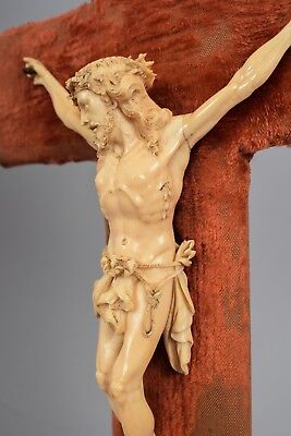 Antique 19Th C. Fine Carved Bovine Bone Crucifix Christ Memento Mori French Rare