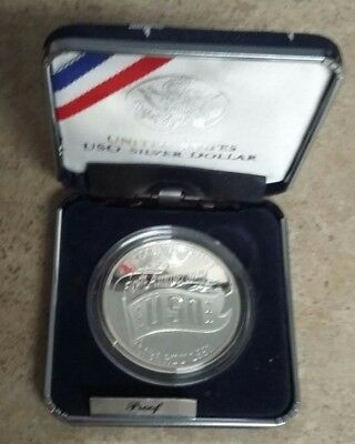 US Mint 1991 USO Proof Silver Dollar in Original Box with COA