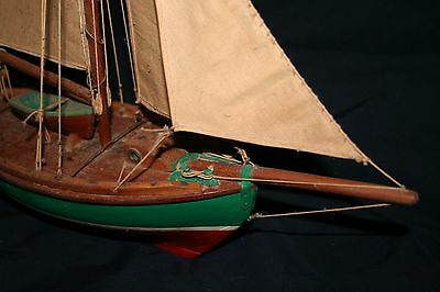 antique 1920's gaff rigged sailboat wood 14 inch hand made