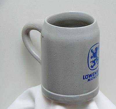 Löwenbräu München Beer Stein Mug Ceramic Pottery Vintage German  .5L Grey Blue B