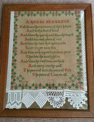 Large Antique Sampler Christian 'House Blessing' In fantastic condition framed