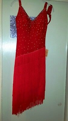Sexy Red Ballroom Competition Dress with Fringe - Latin, Rhythm Dances, Size M