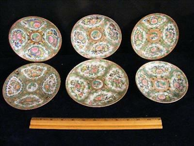 6 Assorted Antique Chinese Export Rose Canton Saucers / Plates