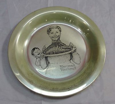 Franklin Mint 1977 Thanksgiving Solid Sterling Silver Plate Norman Rockwell