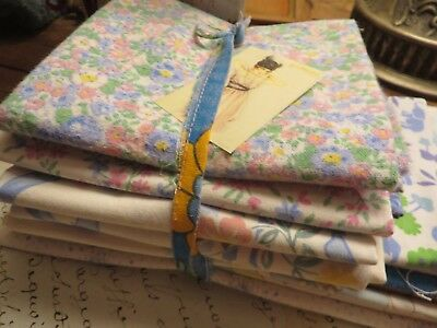 Charming Bundle Of 10 Vtg.french Cotton Fabric Pieces ~Craft Projects /quilting