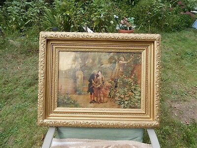 Old Oil Painting / Antique Painting / Gold Gilt Frame / Signed 1800's NR*