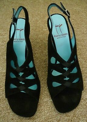 """thierry rabotin black suede leather open toe dress shoes size 38 with 3"""" heels"""