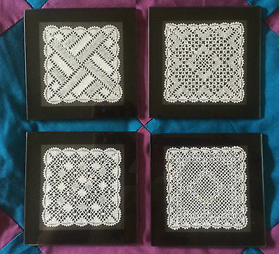 Torchon Lace Glass Coaster Kit. 4 Original Design by Harlequin Lace Lacemaking