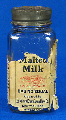 Rare Antique Borden's Malted Milk Bottle w/ Original Embossed Metal Lid & Label