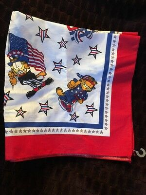VTG Garfield PAWS Bandana Scarf NOS Uncle Sam USA