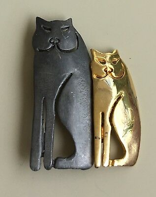 Vintage Signed Ultra Craft 2 cats  Brooch In Pewter & Gold Tone Metal