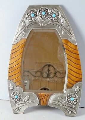 Rare Antique Southwest, Tooled Metal, Turquoise And Wood, Beveled Mirror