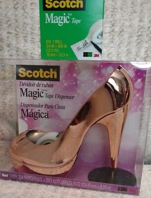 New Scotch Tape Rose Gold Stiletto High Heel Tape Dispenser w/ Replacement Roll