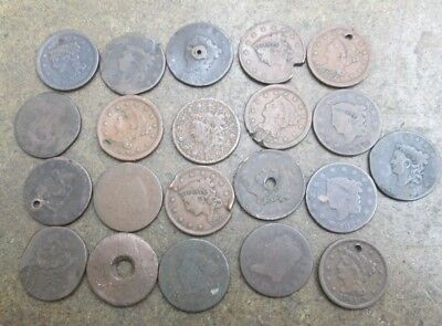 Lot of Twenty One United States Large Cents in Poor Filler Beat Condition No Res