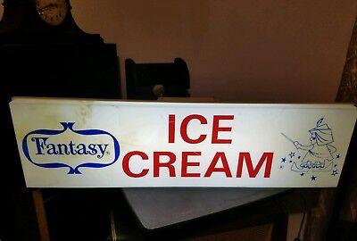 Vintage Fantasy Ice Cream 3 ft Lighted Sign~Store Display~ Bright~Dairy