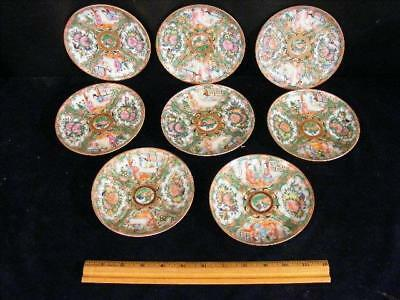 """Set 8 Antique Chinese Export Rose Medallion Small Plates / Saucers 5.5"""""""