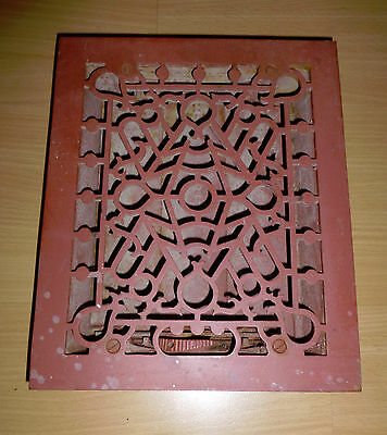Antique Victorian Ornate Cast Iron Floor Grate Heat Return Vent Register Louver